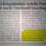 Anti-Kriegsbündnis fordert Olbrichtkaserne und ehemaliges BWK als Asylunterkunft (Ausschnitt LVZ vom 31.08.2015)