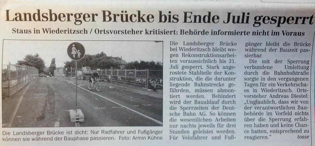 Artikel LVZ - Landsberger Brücke