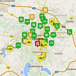 Karte von Flüchtlingsunterkünften auf Basis öffentlich zugänglicher Informationen der Stadt Leipzig.