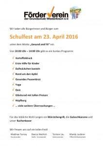 Einladung Schulfest am 23. April 2016