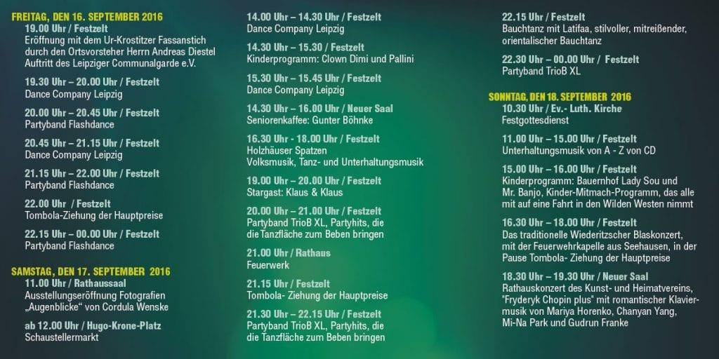 925 Jahre Wiederitzsch – 26. Wiederitzscher Herbstfest - Das Programm