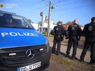 Bereitschaftspolizei trainiert in Leipzig