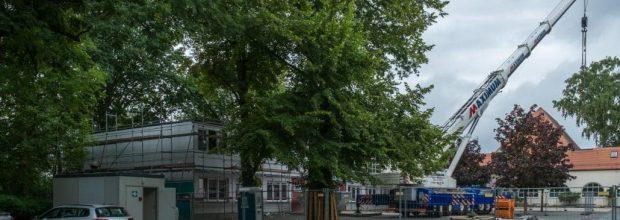 Der Systembau der Grund- und Oberschule Wiederitzsch wird aufgestockt.