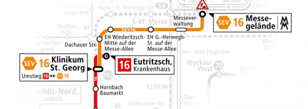Die Straßenbahnlinie 16 fährt ab Montag im Schienenersatzverkehr