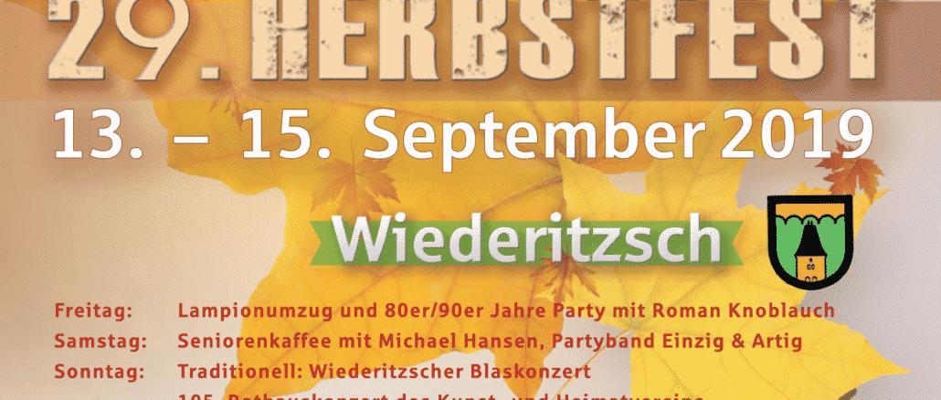 29. Wiederitzscher Herbstfest 2019 vom 13. bis 15. September 2019