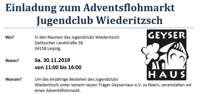 Einladung zum Adventsflohmarkt Jugendclub Wiederitzsch