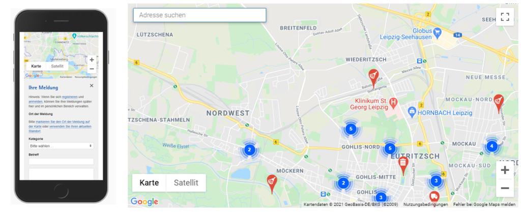 Screenshot Mängelmelder der Stadt Leipzig.