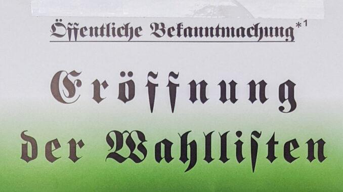 """Falsche Öffentliche Bekanntmachung """"Eröffnung der Wahllisten"""""""